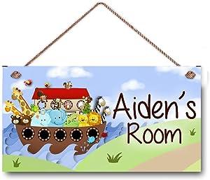AJHERO Personalized Name Noah's Ark Kids Bedroom and Baby Nursery Kids Bedroom Door Wooden Sign Decor Hanging Wall Art Room Sign