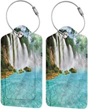 Luggage Suitcase Tag, Luggage ID Tag, Full Back Privacy Cover Waterfall Tropical Waterscape Pool (1,2 & 4 Pack)