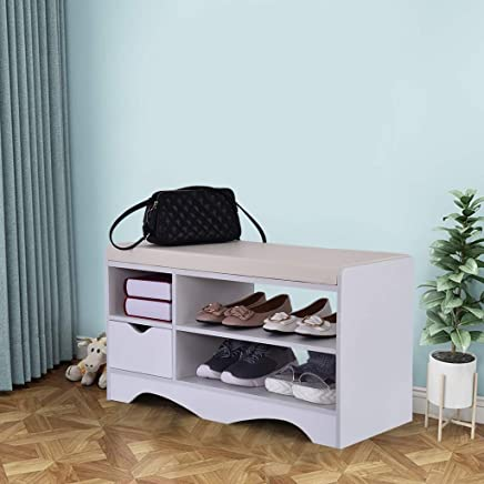 $49 Get Beyonds Entryway Shoe Storage Bench, Noble White Two-Tier Shoes Shelf Rack with Padded Seat Cushion, Hallway Bathroom Wooden Cabinet