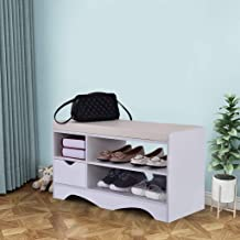 $49 » Beyonds Entryway Shoe Storage Bench, Noble White Two-Tier Shoes Shelf Rack with Padded Seat Cushion, Hallway Bathroom Wooden Cabinet