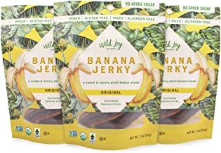 Wild Joy Goods Banana Jerky Organic Vegan Jerky, Paleo, No Added Sugar, Gluten Free Plant- Based Snack - Original Flavor, 3 oz bags (3 Pack)