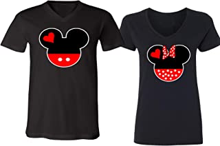 Mickey Minnie Mouse Head Family Couple Design V-Neck Shirt for Men Women