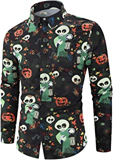 Holzkary Shirt Fashion Funny Printed Party Pullover Loose Soft Turn-Down Collar T-Shirts Halloween Tops for Men