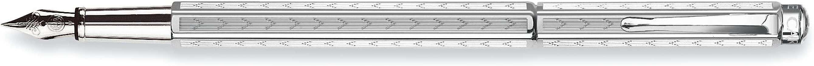 Caran D' Ache Chevron Ecridor Silver Plated/Rhodium Coat Fountain Pen Nib M (0958.286)