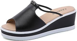 01259c3a1d1dd Minetom Femme Fille Été Confortable Claquettes Tongs Compensées Sandales  Chaussures de Plage Mules