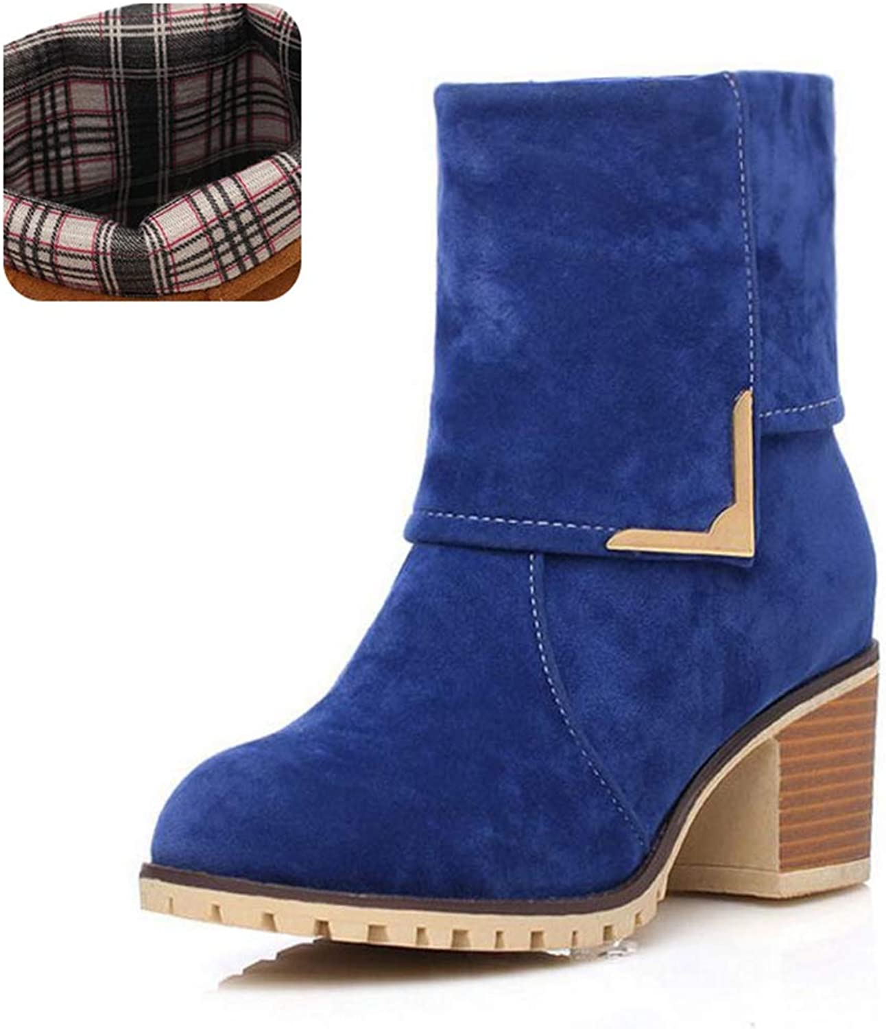 GIY Women's Square High Heels Ankle Boots Slip On Round Toe Warm Plush Winter Chunky Heel Short Boots