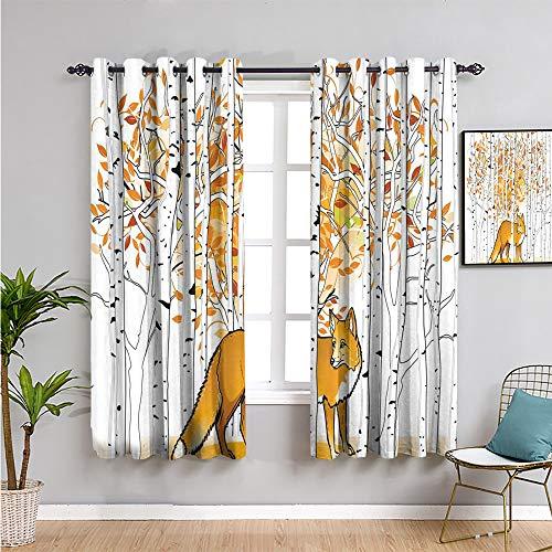 Pcglvie Decoración de caza Cortinas opacas, 114,3 cm de longitud caza de zorro en otoño, bosque, abedul, árboles rústicos, animales salvajes, cortina de baño, naranja, blanco y negro, 63 x 45 pulgadas