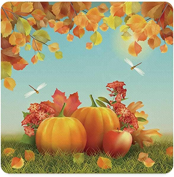 Harvest Square Coaster Fall Season Yield Thanksgiving Image Fallen Leaves Branches Pumpkins Decorative For Home 3 5 L X 3 5 W