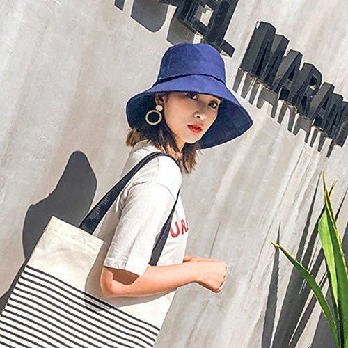 SDGERJNN Fischer hat Frau Xia Da Yan tag Abteilung für Baumwolle Halteband Bow Tie Sonnenschirm Helm travel folding Sonnenhut, Navy Blue