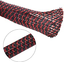 Alex Tech 10ft - 1/2 inch Cord Protector Wire Loom Tubing Cable Sleeve Split Sleeving for USB Charger Cable Power Cord Audio Video Cable – Protect Cat from Chewing Cords - BlackRed