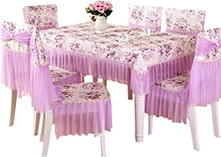 Kylin Express Rural Style Tablecloth 51 x 71-Inch Rectangular Tablecloth with Lace,Purple