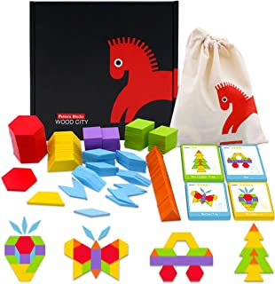 WOOD CITY Wooden Pattern Blocks Set 130 Pcs, Geometric Shapes Tangram Puzzle, Classic Educational Montessori Toys for Toddlers 3 Years Old, Brain Teasers for Kids with 24 Cards