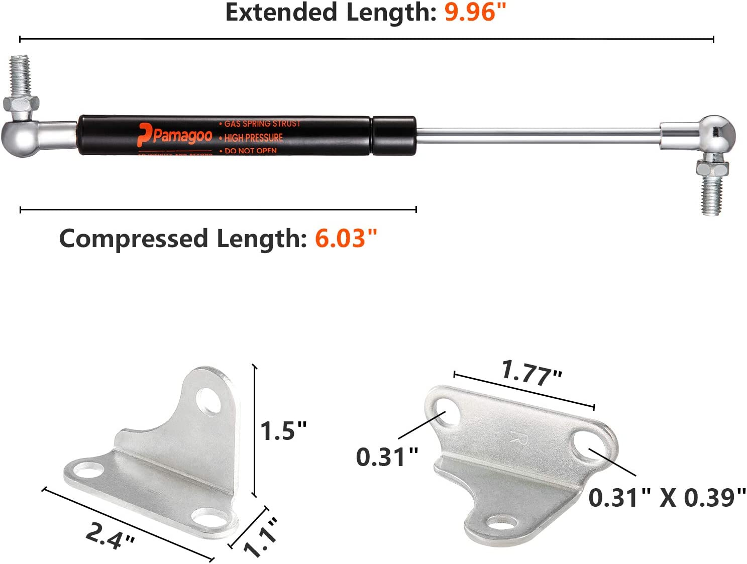 35Lb//155N Per Lift Support with L-type Mounts for Cabinet Toy Box Toolbox Bench Lids Trash Bin Dog House Door by Pamagoo 15 Gas Spring Struts