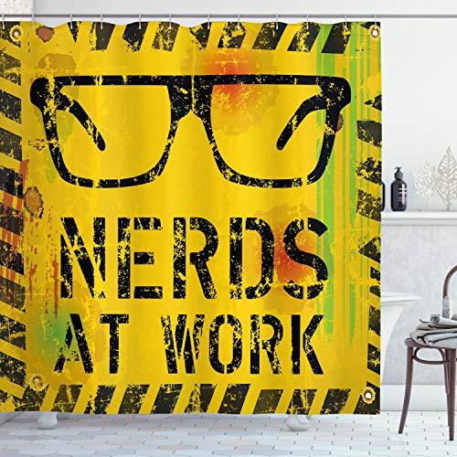 ABAKUHAUS Duschvorhang, Nerds at Work Nerds Bei der Arbeit Fiktiv Bild Gläser Brille Achtung Arbeit Geek Druck Thema, Blickdicht aus Stoff inkl. 12 Ringen Umweltfreundlich Waschbar, 175 X 200 cm