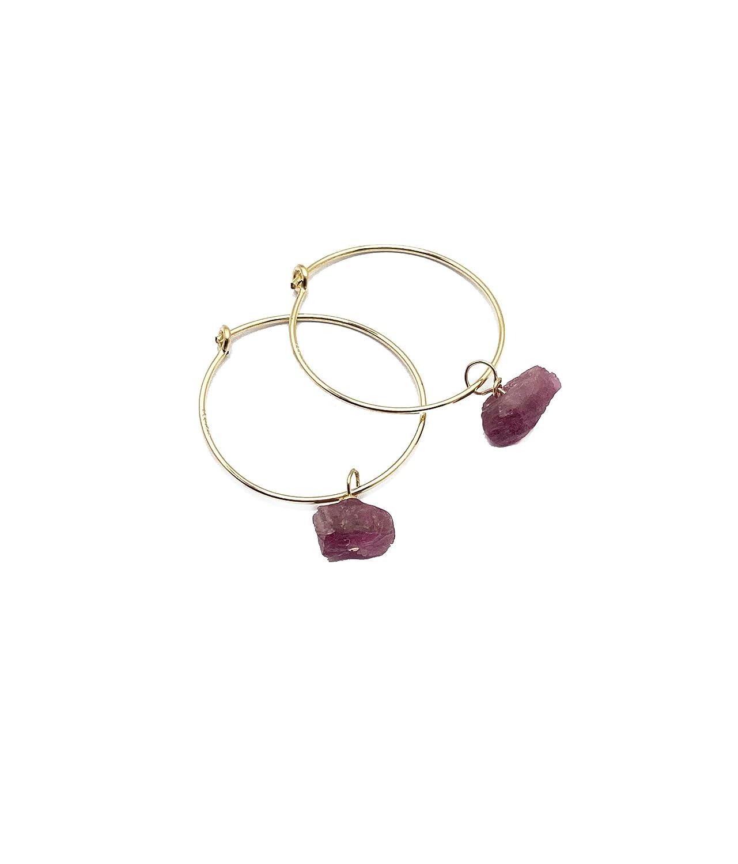 14K Gold Filled Raw Pink Tourmaline 20mm Hoop Boho Gem Earrings Max 51% Outlet SALE OFF