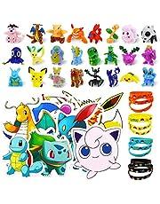 Pokemon Monster Mini Figure 24 Pezzi mini personaggi Pokémon Pearl+ 12 Pezzi Pokemon Braccialetti,50 pezzi Pokemon adesivi per bambini