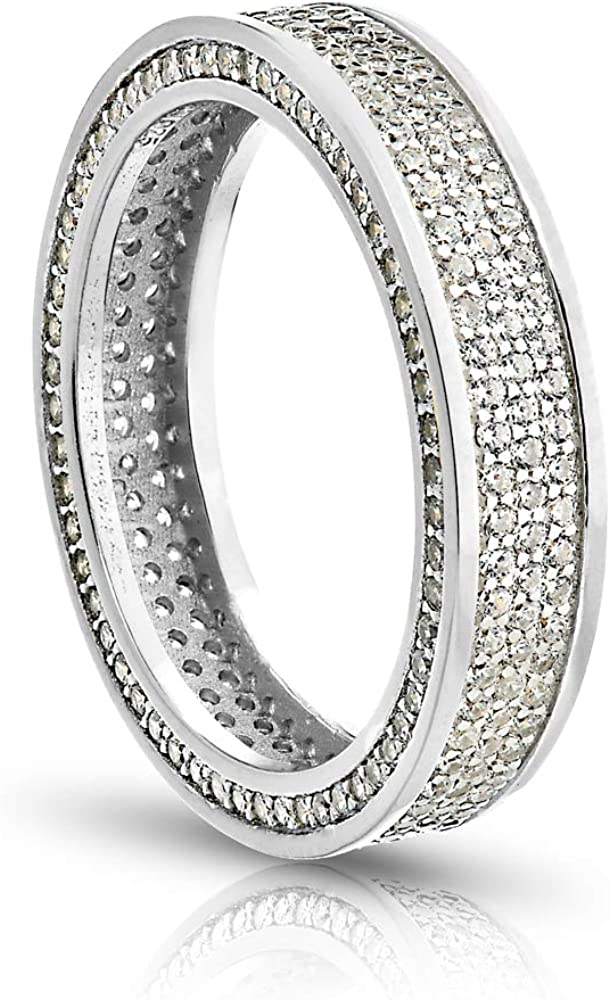 PORI Sale SALE% OFF JEWELERS 925 Sterling Silver Band CZ Max 66% OFF Rin Stackable Eternity
