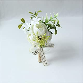 Fenglin-joys Artificial Flower Wedding Corsages and Boutonnieres White Silk Flower Corsage Bracelet for Bridesmaid Wedding Corsage Accessories Flowers,Corsage-B