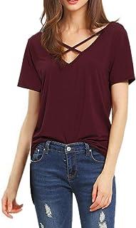comprar comparacion Camisas de Mujer Manga Corta, Camiseta de Blusa con Cuello en V Floja de Manga Corta para Mujer