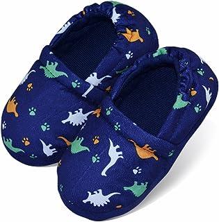 LA PLAGE Boys/Little Kid Winter Warm Indoor Slip-on Slippers Hard Anti-Slipping Sole