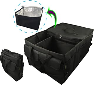 NeaTi Organisateur de Coffre Haute Qualite, Pliable à 2 Compartiments, GLACIERE Souple Amovible et 11 Poches externes. Sac...