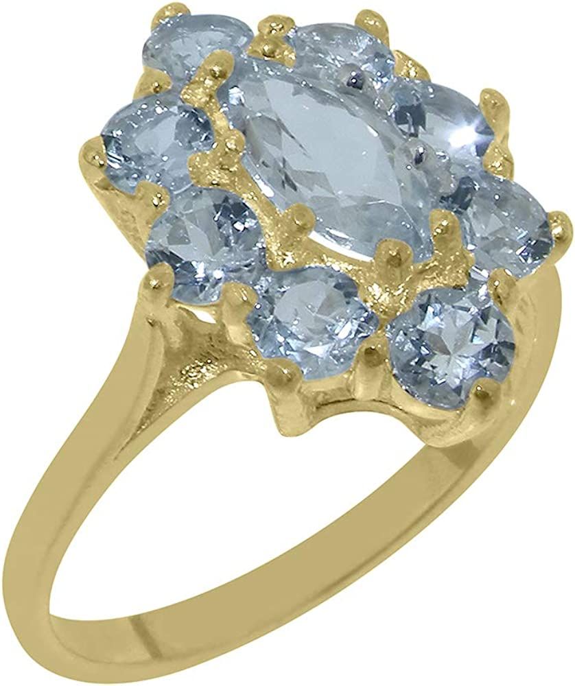 Solid 18k Yellow Gold Natural Aquamarine Womens Cluster Ring - Sizes 4 to 12 Available