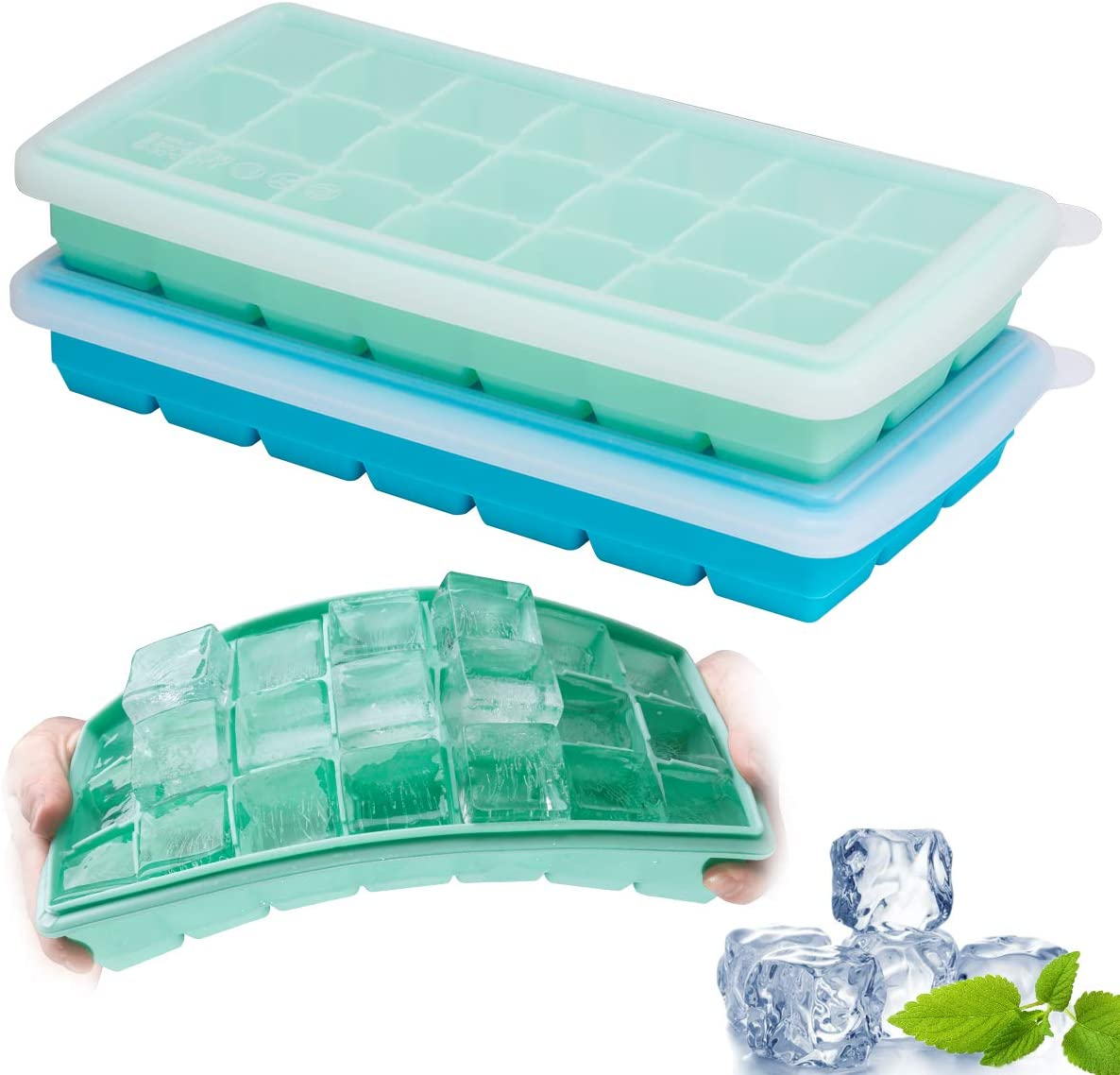 Ice Cube Trays, GDREAMT 2 Pack Silicone Ice Tray with Spill-Resistant Removable Lid Easy Release Flexible 21 Ice Cube Molds for Cocktail, Whiskey, Baby Food, Chocolate, BPA Free