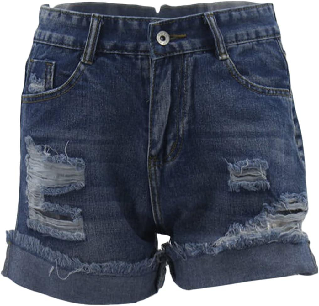 Frayed Cuffed Jean Shorts for Women High Waist Stretchy Ripped Slim Denim Shorts Distressed Holes Raw Hem Hot Pants (Navy Blue,XX-Large)