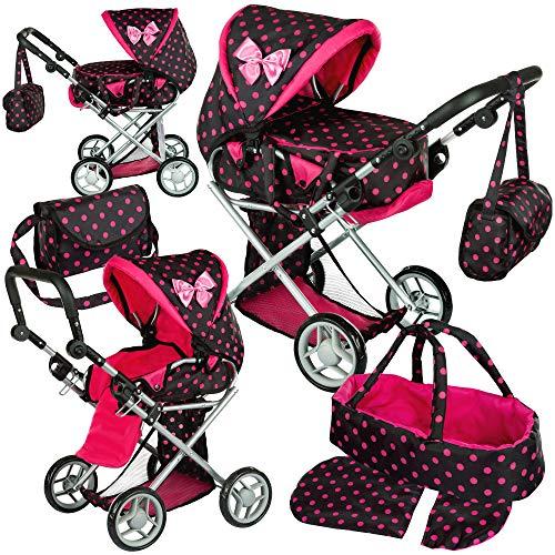 Kinderplay Puppenwagen ab 1 2 3 Jahre Kinderwagen Spielzeug - Kombi, 3 in 1, Spielzeug Draussen, Puppenwagen mit Herausnehmbarer Tragetasche und Umhängetasche, Höhenverstellbar bis 62 cm, KP0200G