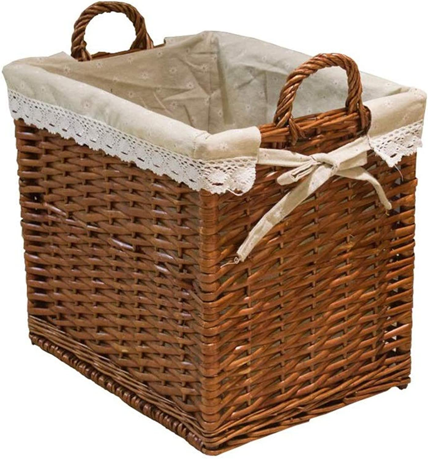 MUMA Storage Baskets with Handle Rattan Weaving Cotton Lining Anti-Static Breathable Easy to Clean Home Supplies (color   Brown, Size   45x33x48cm)