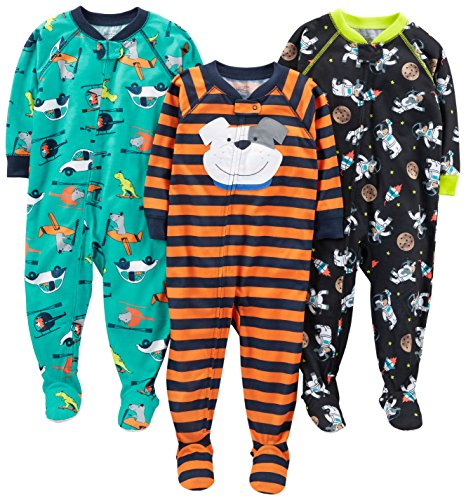 Simple Joys by Carter's Baby Boys' 3-Pack Loose Fit, Light Weight Polyester Footed Pajamas, Space/Dog/Vehicles, 12 Months