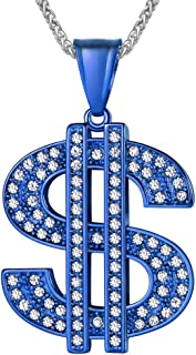 U7 Men Women Dollar Sign Pendant Necklace Rhinestone Inlay Iced Out Hip Hop Jewelry with 22 Inch Chain, Stainlss Steel/Gold/Black/Blue, with Personalized Engrave Service