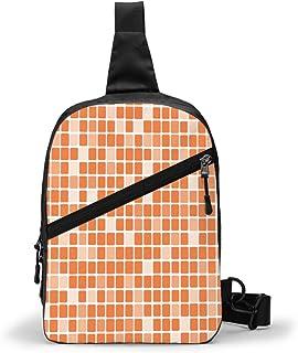 Tangerine Rectángulo Mosaico Lumbar Pecho Paquete Multipropósito Crossbody Bolsa de hombro al aire libre Mochila Sling Mochila de gran capacidad Casual Sport Mochila para Senderismo Viaje Deporte