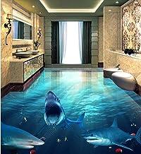Aangepaste 3D Vloeren PVC Vinyl Vloer Dolfijnen 3D Vloer Behang Waterdichte Zelfklevende PVC 3D Behang 350cm(L) x245cm(W)