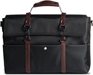 Scarters Premium Splash-Proof Canvas Jet Black Messenger Bag with Faux Leather Styling for up to 14 inch Laptop/MacBook: The Retro