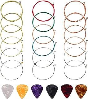 Guitar Strings,Acoustic Guitar Strings 3 Sets Of 6 Guitar Strings Steel String With 6 Guitar Picks