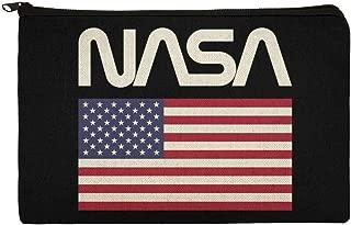 NASA Official Worm Logo United States USA Flag Pencil Pen Organizer Zipper Pouch Case