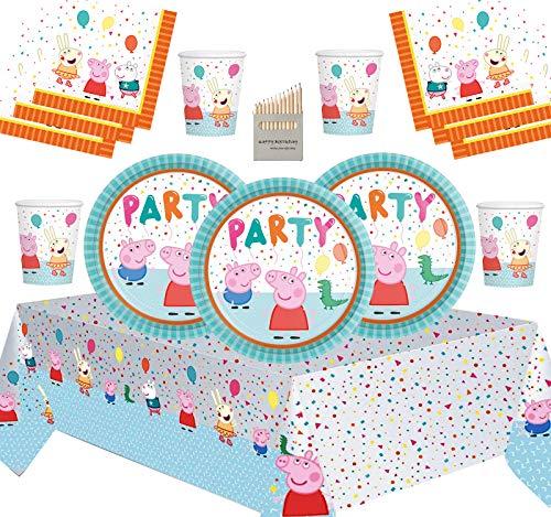 Artículos De Fiesta De Peppa Pig Kit De Fiesta De Cumpleaños para Niños Decoraciones De Vajilla De Peppa para 16 Invitados