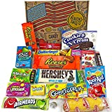 Heavenly Cesta de Dulces y Chocolate Americanos - Set de Marcas Clásicas de USA, Surtidos Originales, Regalo Perfecto para Niños, Adulto - Cumpleaños, Navidad - 19 Dulces, paquete de 28x19x4cm