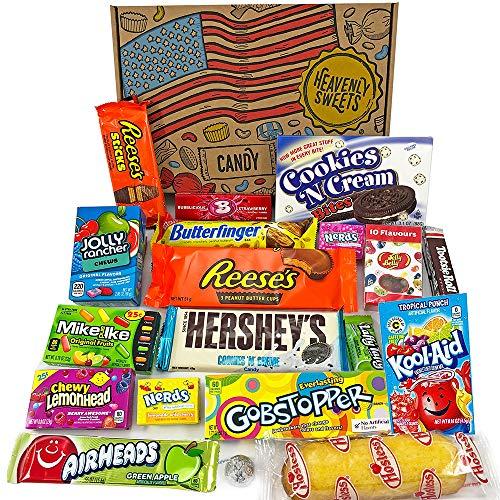 Amerikanische Süßigkeiten Geschenkkorb | Süßigkeiten aus den USA | Auswahl beinhaltet Jolly Rancher, Hersheys, Reeses, Jelly Belly | 19 Produkte in einer tollen retro Geschenkebox