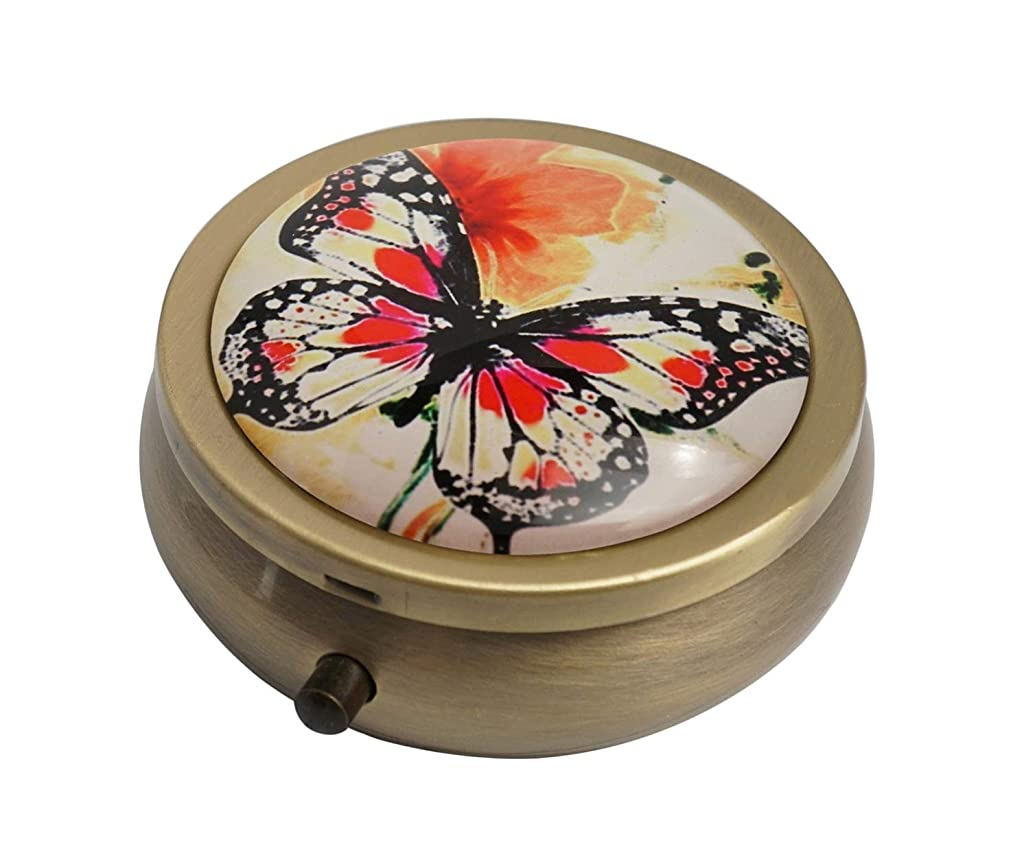Hiutong Watercolor Butterfly and Flower Custom Round Bronze Glass Pill Case Metal Decoration Box Unique Gift