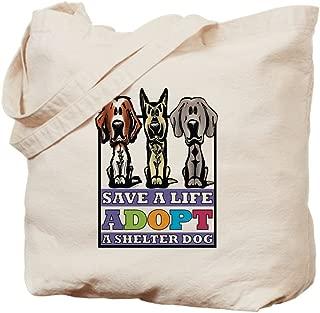 CafePress Adopt A Shelter Dog Natural Canvas Tote Bag, Reusable Shopping Bag