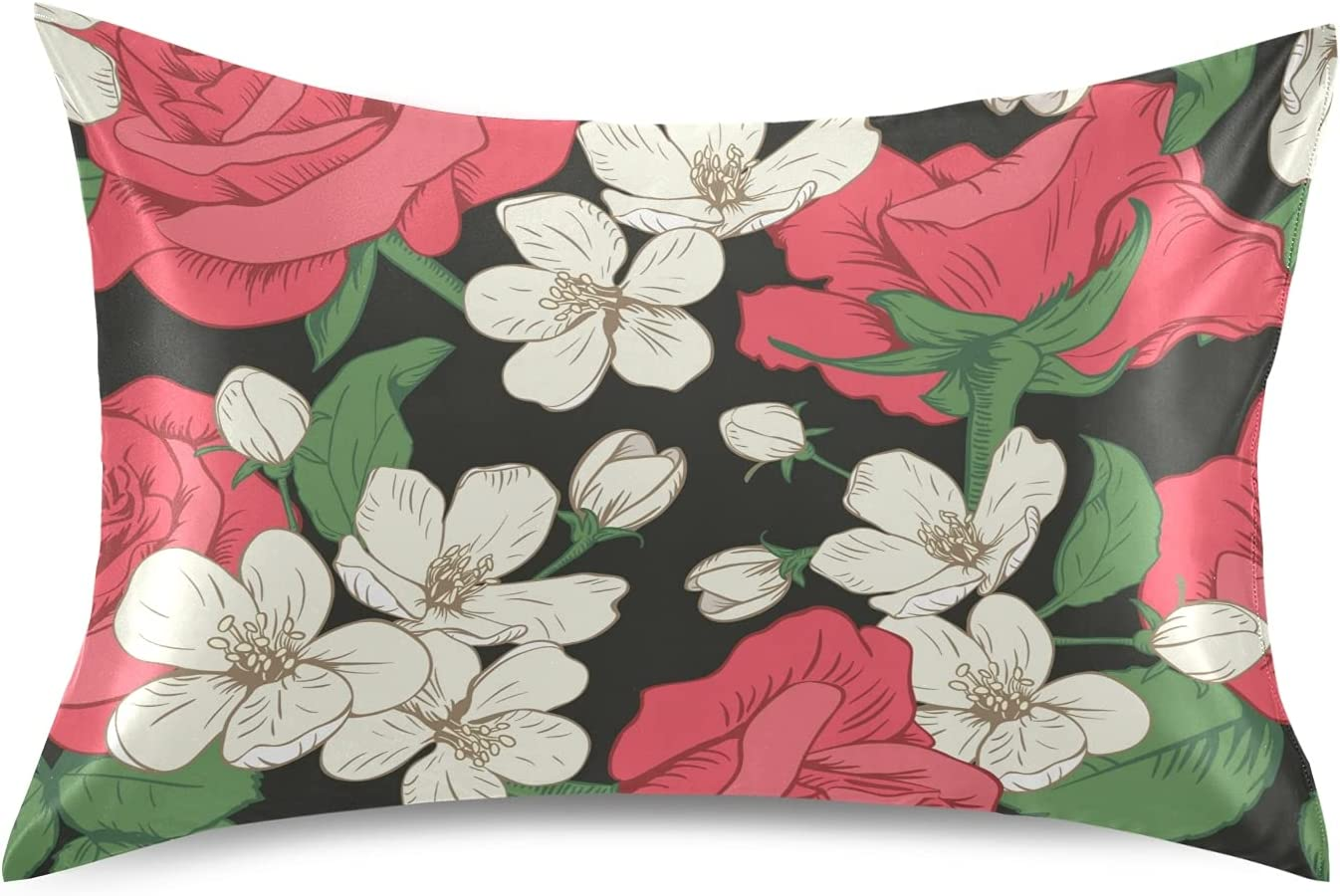 Satin Pillowcase Inexpensive Pillow Covers Red Tree Year-end gift with Cherry Roses White