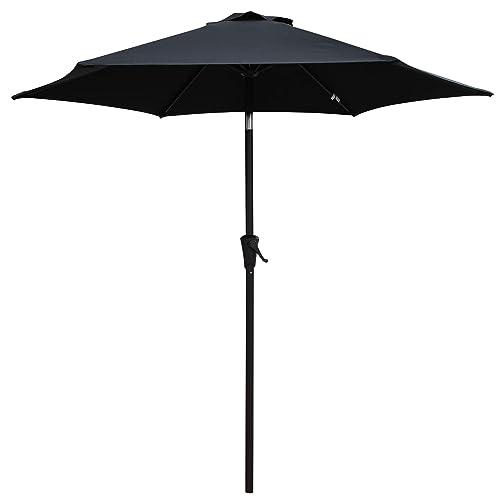 PATIORAMA 7.5 Feet Outdoor Patio Umbrella with Push-Button Tilt and Crank,  6 Ribs - Black Patio Umbrellas: Amazon.com