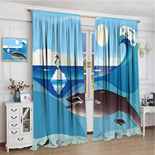 Whale All Season Insulation North Pole Graphic Landscape with Penguin Wave and Sun Children Love Print Noise Reduction Curtain Panel Living Room W96 x L72 Inch Blue White and Grey