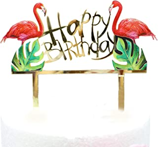 Flamingos Happy Birthday Cake Topper, Acrylic Flamingos Birthday Twinkle DIY Glitter First Birthday Cupcake Topper Cake Smash Candle Alternative Party Handmade