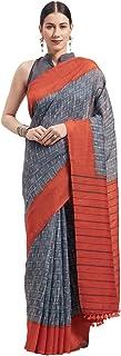Monira Women's Linen Cotton Printed Traditional Saree with Blouse Piece (MONNB3075C, Grey and Orange)