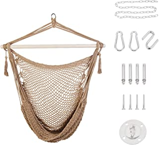 Patio Watcher Hammock Chair Hanging Rope Swing Seat with 2 Cushions and Hardware Kits, Perfect for Indoor, Outdoor, Home, ...