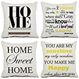 (16 41cm , Yanyu1_set4a) - Set of 4 Home Throw Pillow Covers Cotton Linen Square 41cm x 41cm Cushion Covers Quote Home Pillowcases for Sofa Couch Home Decor