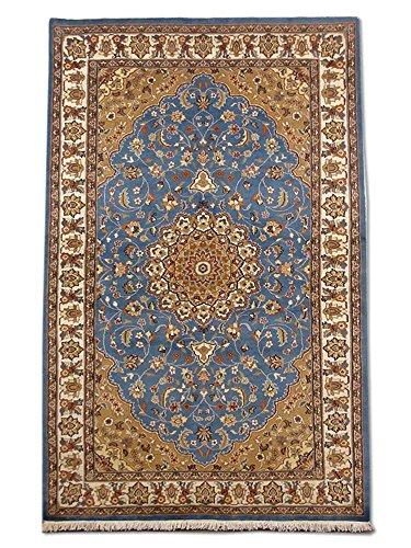 Pak Persian Rugs Handgeknüpfter Kashan Teppich, Stahlblau, Wool/Art. Silk, Medium, 158 X 253 cm
